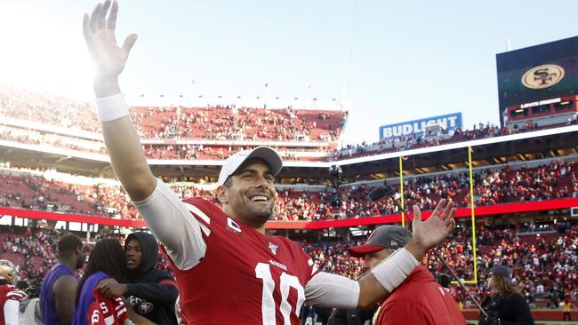 San Francisco quarterback Jimmy Garoppolo celebrated after the playoff win over Minnesota.