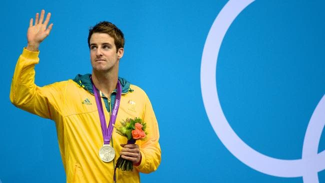 James Magnussen after receiving his silver medal in the men's 100m freestyle final at the Olympic Games in London.