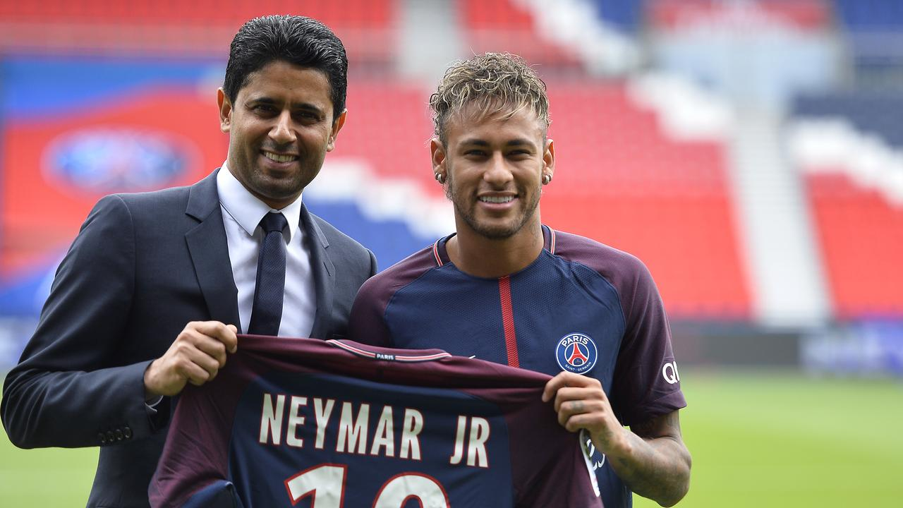 PSG President Nasser Al-Khelaifi pictured with Neymar after shattering the transfer record