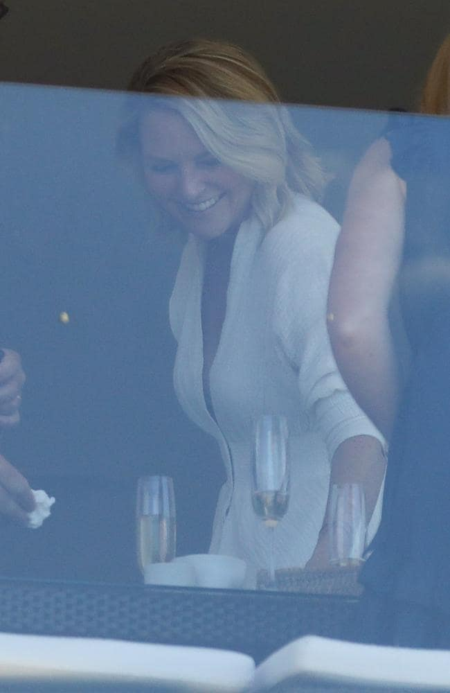 Georgie Gardner and husband Tim Baker are pictured with friends having lunch and drinks yesterday. Picture: KHAPGG / MEGA