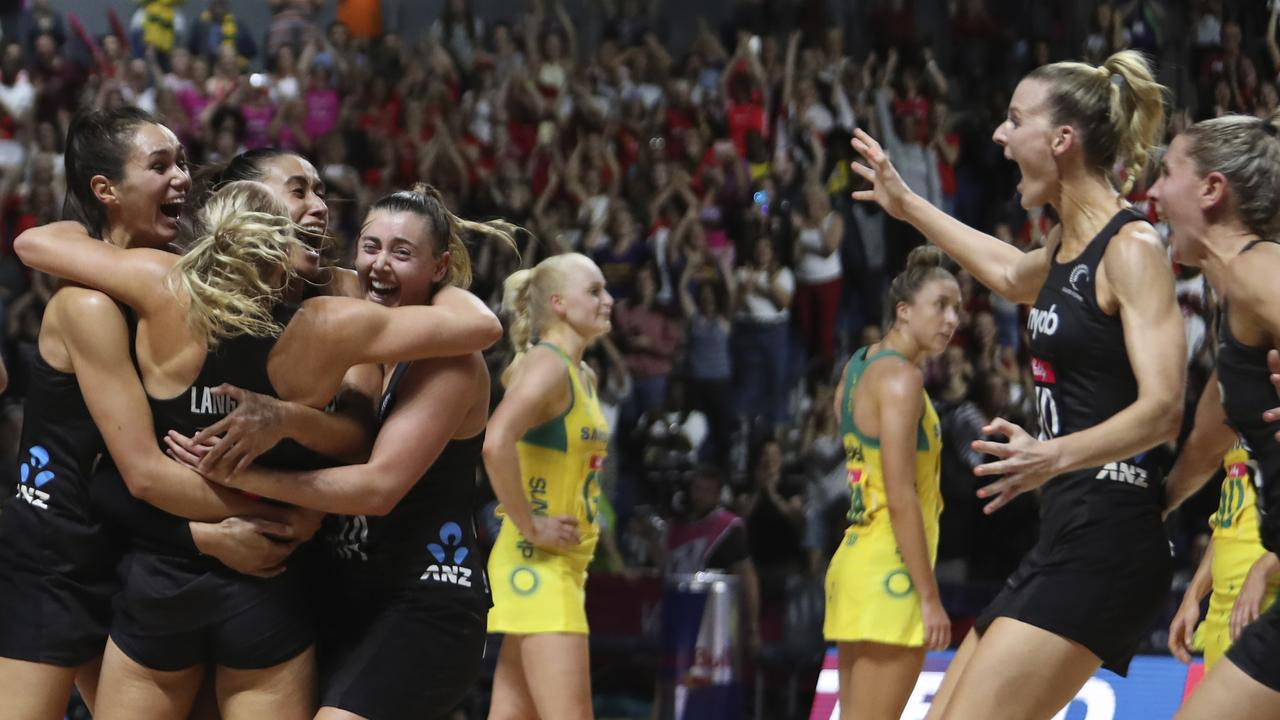 New Zealand's players celebrate after winning the Netball World Cup final.