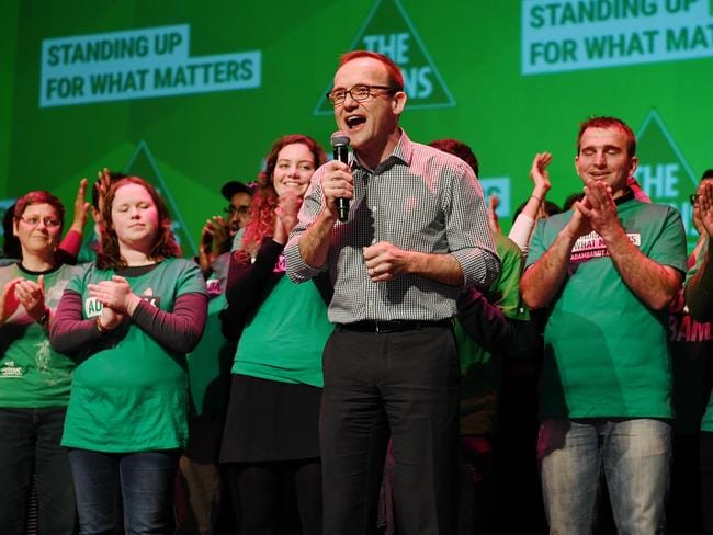 Greens member for Melbourne Adam Bandt celebrates his re-election. Picture: Jake Nowakowski