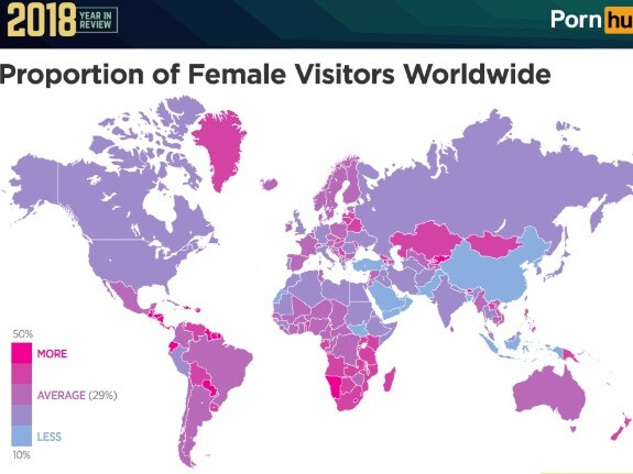 The insights revealed porn trends around the world. Picture: Pornhub