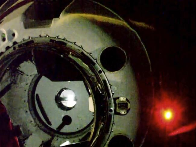 SpaceX's new crew capsule approaches just before docking at the International Space Station. Picture: NASA TV via AP