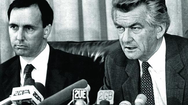 Bob Hawke and Paul Keating after winning the 1983 election.