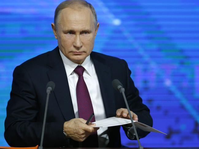 Vladimir Putin said accusations of Russian interference in the west were not true. Picture: AP