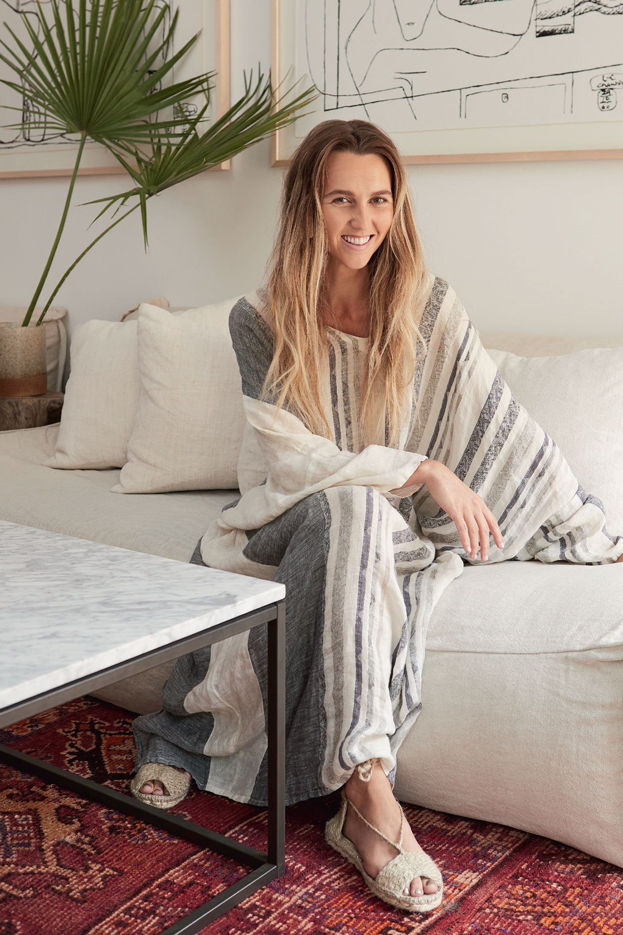 Emma Crowther Goodwin inside Malibu's Surfrider hotel. Image credit: Julie Adams