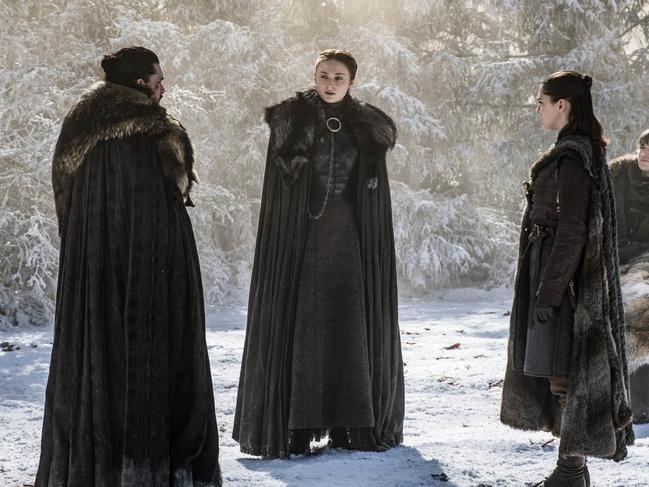 Kit Harington as Jon Snow, Sophie Turner as Sansa Stark, and Maisie Williams as Arya Stark. Picture: HBO