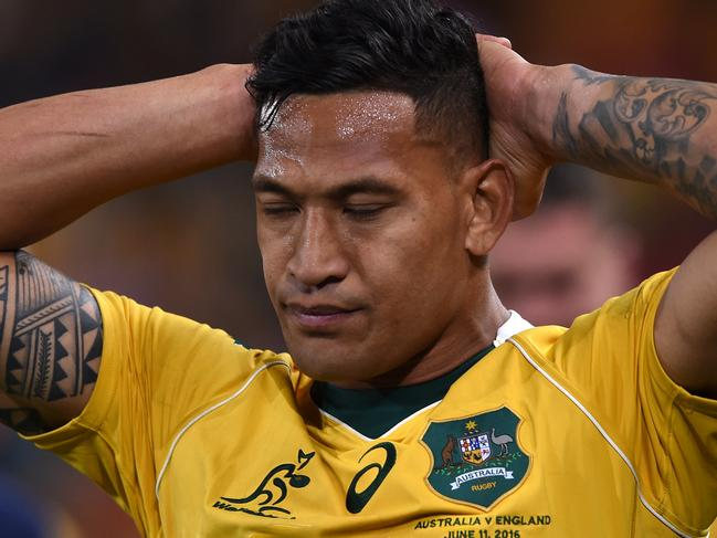 Israel Folau on the field for the Wallabies.