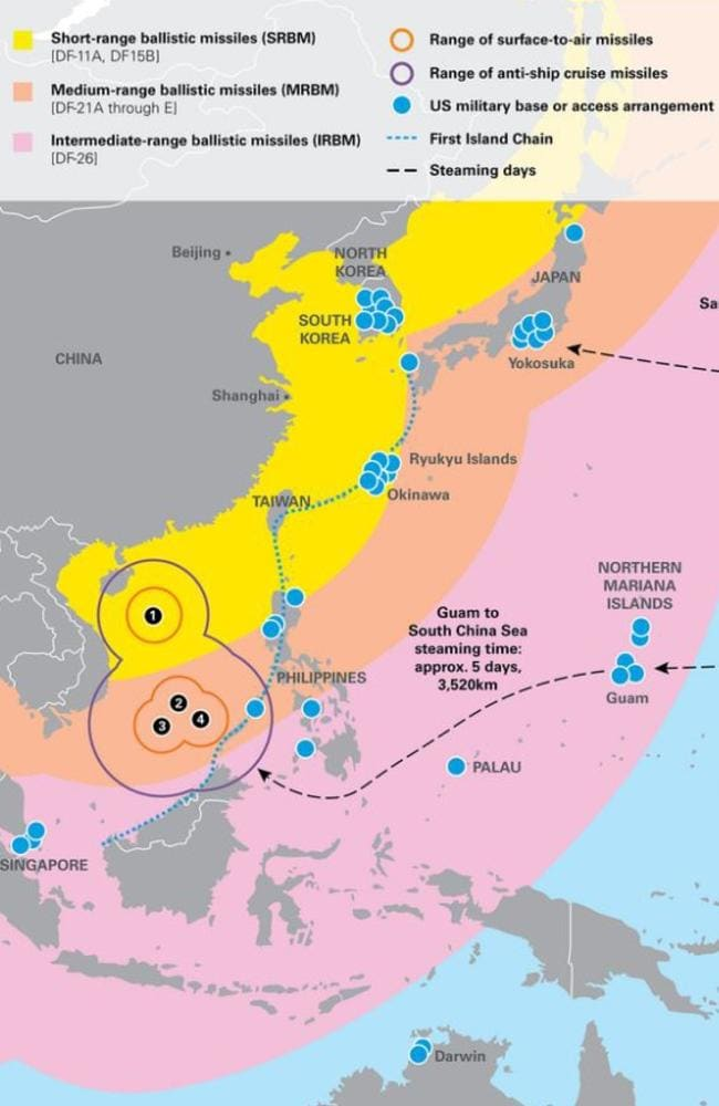 The range of Chinese missiles is shown above. They can now reach as far as the US territory and military base in Guam. Picture: US Studies Centre.