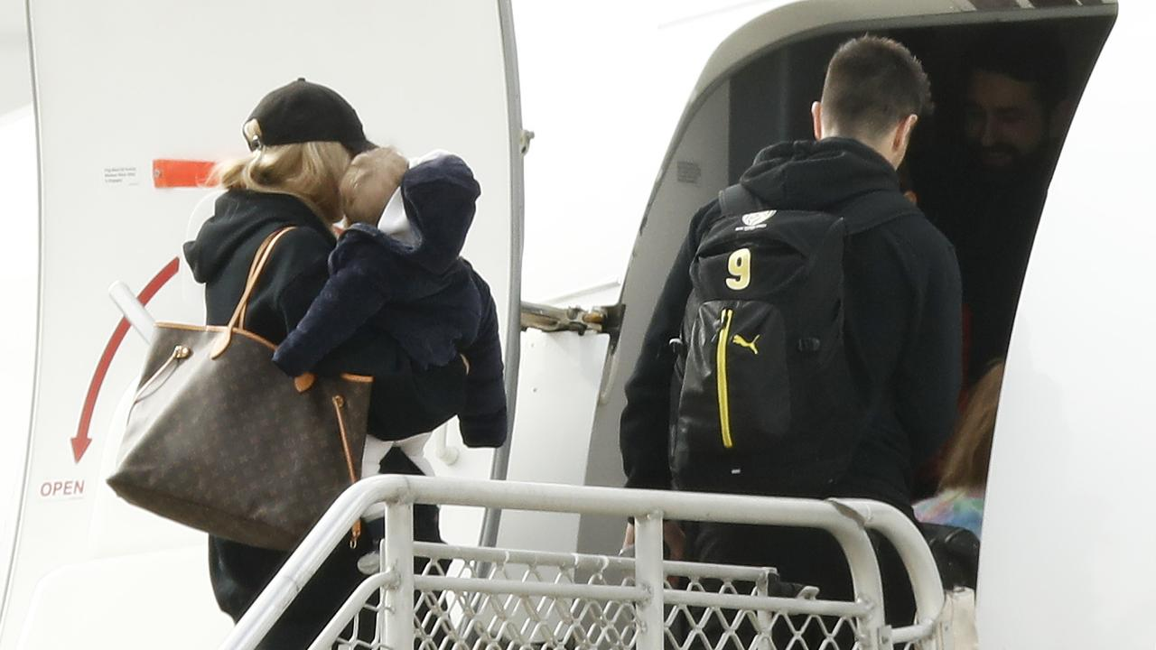The Cotchin family flew to the Gold Coast to be in Richmond's hub. Picture: Daniel Pockett