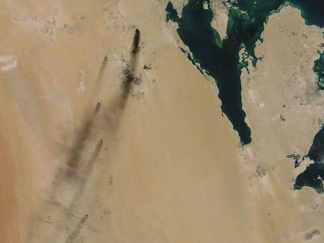 A satellite image shows fires following drone strikes on two major oil installations in Saudi Arabia. Picture: NASA