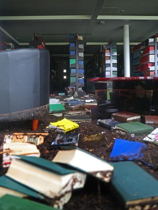 Damage at the Law library at UTAS in Sandy Bay. Picture: SAM ROSEWARNE
