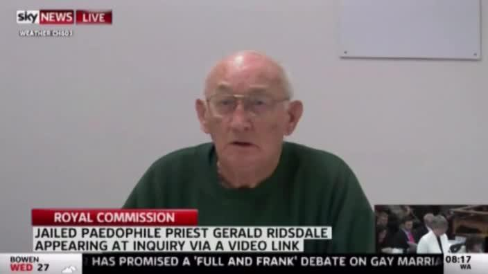 Convicted paedophile priest Gerald Risdale appears at the Royal Commission