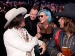 Jess Carson, Donnie Wahlberg, Jenny McCarthy and Mark Wystrach attend the 60th Annual GRAMMY Awards at Madison Square Garden on January 28, 2018 in New York City. Picture: Getty