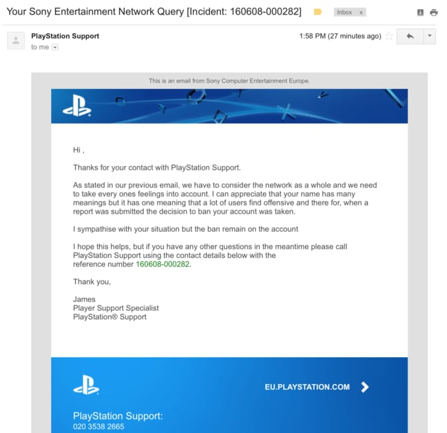 The email Al Mofadda said he received from Playstation after complaining.