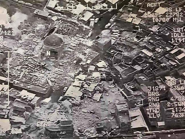 This aerial view taken on June 21, 2017 and provided by Iraq's Joint Operation Command reportedly shows destruction inside Mosul's Nuri mosque compound. Picture: AFP/Joint Operation Command/HO