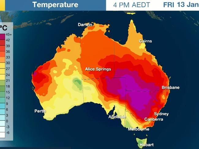 The Bureau of Meteorology climate map which outlines this week's heatwave conditions across the Australian continent. Picture: Bureau of Meteorology