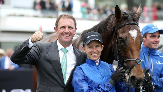 Cross Counter with jockey Kerrin McEvoy and trainer Charlie Appleby. Picture: Michael Klein