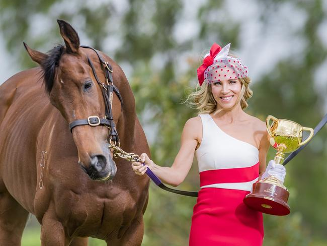 Elsa Pataky with Who shot Thebarman at Flemington ahead of the 2016 Emirates Melbourne Cup. Picture: Jason Edwards