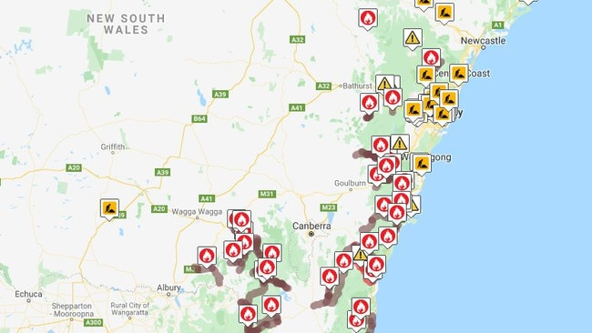 Road closures in New South Wales. Picture: Live Traffic NSW