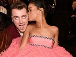 "Rihanna smooches with Sam Smith, ""Batch @badgalriri."" Picture: Instagram"