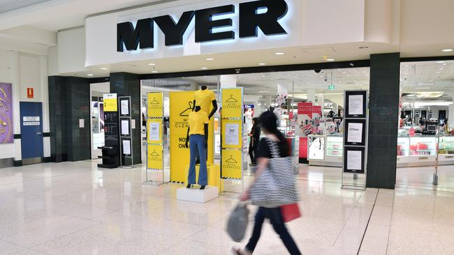 The letter was sent to concessions who work within Myer. Picture: AAP Image/Joel Carrett.