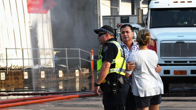 The scene at the factory in Bishop St, Woolner this morning. Picture: Katrina Bridgeford