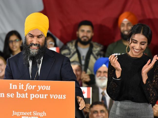 NDP leader Jagmeet Singh thanks his wife Gurkiran Kaur. Picture: AFP