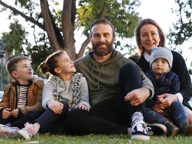 Steve 'Commando' Willis and Michelle Bridges with their son Axel and Steve's kids Jack and Ella. Picture: Sam Ruttyn