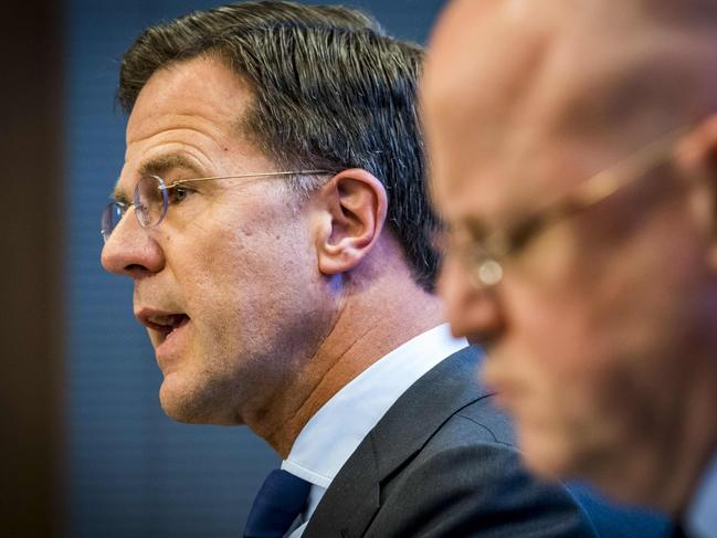 Dutch Prime Minister Mark Rutte, left, with Justice and Security Minister Ferd Grapperhaus says that some of the wounded are still in critical condition. Picture: AFP