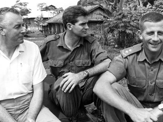 With the troops ... Gough Whitlam with Lieutenant White and Major Rowe in Hoa Long village, Vietnam, August 1966.