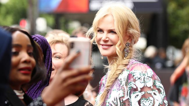 Nicole Kidman greets fans. Picture: Brendon Thorne