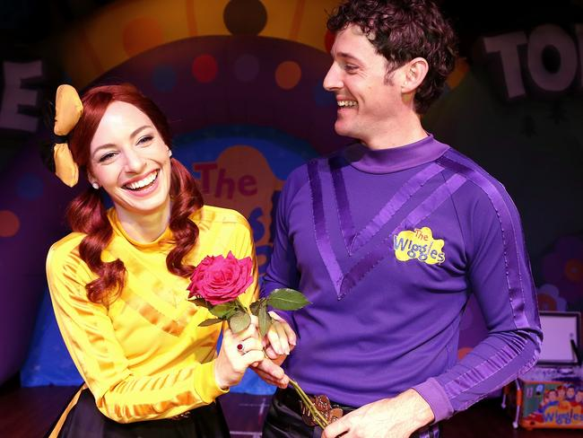 Emma Watkins and Lachy Gillespie from The Wiggles recently celebrated their second wedding anniversary. Picture: Adam Taylor