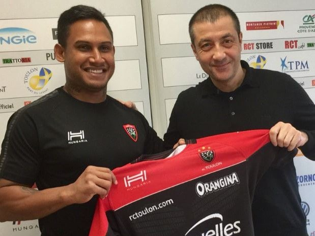 Mourad Boudjellal with former Toulon player and disgraced NRL star Ben Barba.