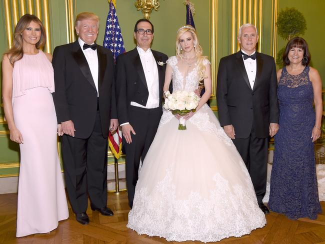 The Trumps and Pences attended the wedding of Steven Mnuchin and Louise Linton. Picture: Kevin Mazur/Getty Images for LS