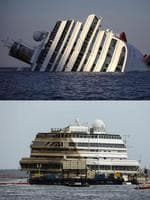 This combination made on September 17, 2013 shows a file picture taken on January 14, 2012, showing the Costa Concordia (up) and a picture taken on September 17, 2013 showing the wreckage of Italy's Costa Concordia after the cruise ship ran aground and keeled over off the Isola del Giglio. The Costa Concordia cruise ship wreck was turned upright on September 17, 2013 off the Italian island of Giglio in the biggest ever salvage operation of a passenger ship, officials said. AFP PHOTO