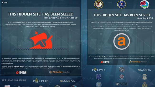 Investigators have since left their calling cards on the darknet websites.