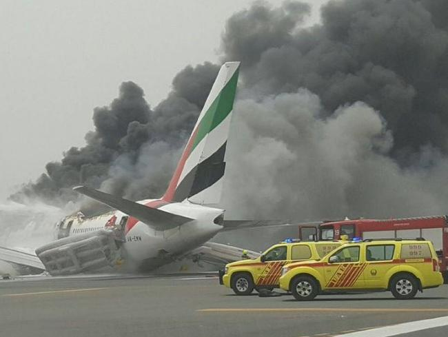 The Emirates plane crash lands at Dubai Airport. Picture: Twitter