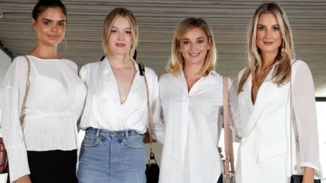 Model Samantha Harris and Maddison Brown with Jasmine Yarbrough and Laura Dundovic at the Witchery and the Ovarian Cancer Research Foundation event. Picture: Jonathan Ng.