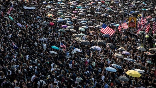 Tens of thousands of protesters walk through Central district during a march to petition the US Consulate on September 08, 2019 in Hong Kong, China. (Photo by Chris McGrath/Getty Images)