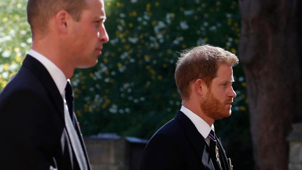 Princes William and Harry reunited for the first time in a year at Prince Philip's funeral in April. Picture: Alastair Grant/AFP