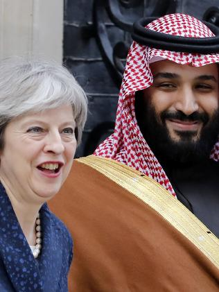 Britain's Prime Minister Theresa May with Crown Prince Mohammed on March 7, 2018. Picture: Tolga Akmen/AFP