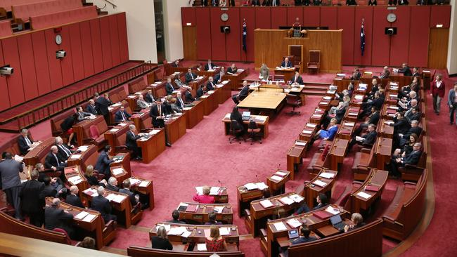 The Carbon Tax Repeal Bill was passed in the Senate Cahmber 39 votes to 32 votes. Picture: Gary Ramage
