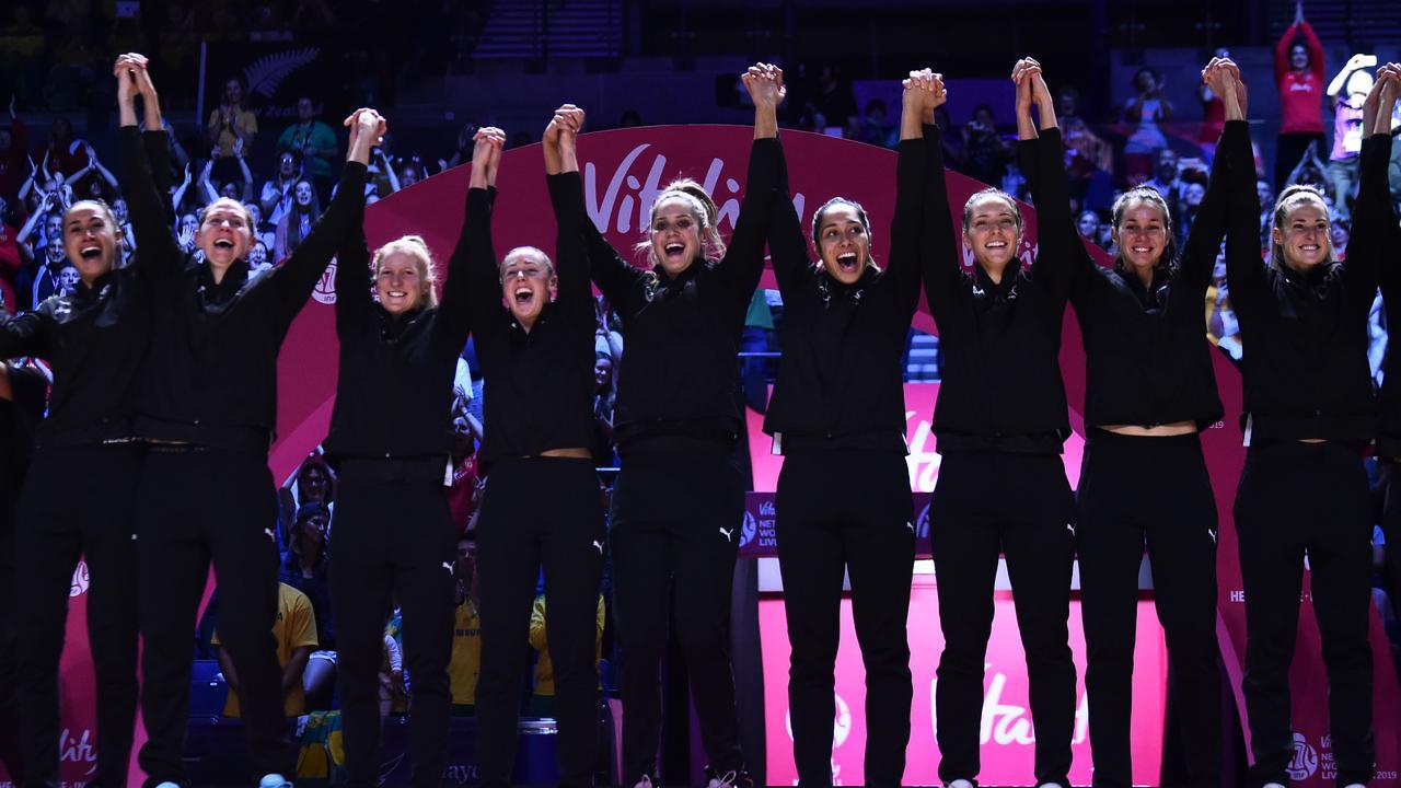 New Zealand players celebrate winning the World Cup.