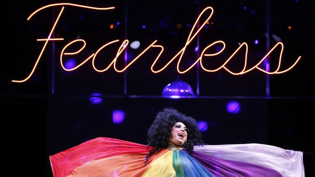 "Yana Alana strikes a fearless pose — ""fearless"" is 2019's Mardi Gras theme. Picture: AAP Image/Quentin Jones."