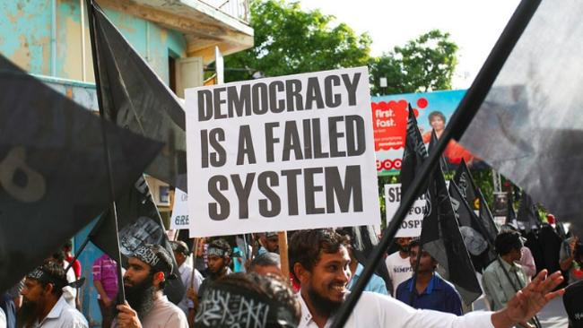 Protesters take to the streets in the Maldives in August.