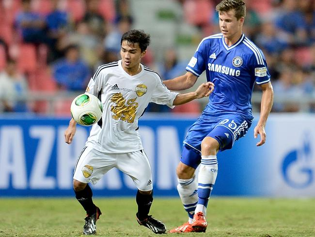 Chanathip Songkrasin playing for the Singha All-Stars in a friendly against Premier League giants Chelsea in 2013.