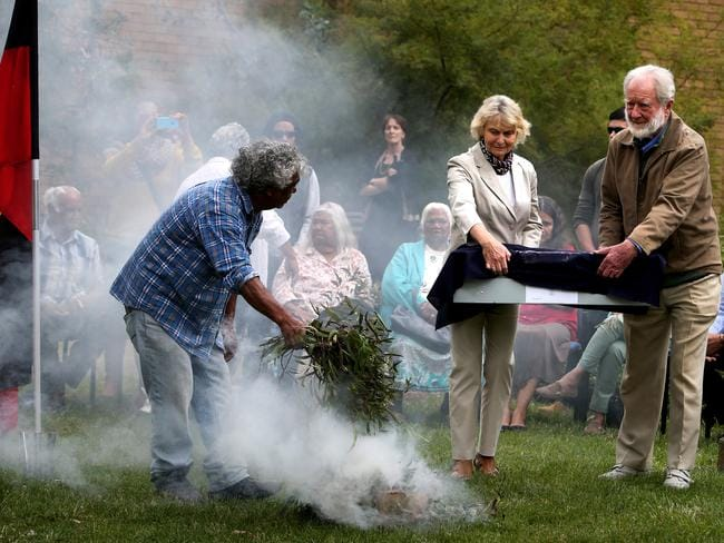 Joan Bowler and Former ANU Professor Jim Bowler during the Smoking ceremony at the Australian National University in Canberra with Historic Ancestral Remains discovered at Lake Mungo in the 1960s and early 1970s have been returned to elders from the Willandra Lakes area of Western New South Wales in the first step of their journey home.