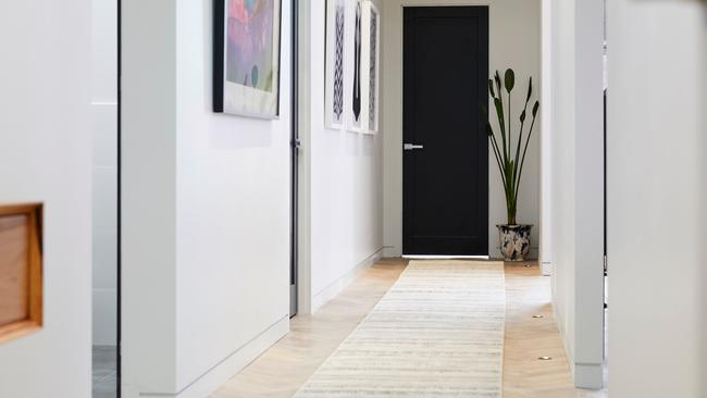 Bianca and Carla's hallway was described as sexy, with Neale loving the carpet runner. Source: The Block